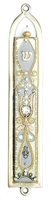 Grey & Golden Oriental Mezuzah Case by Ester Shahaf