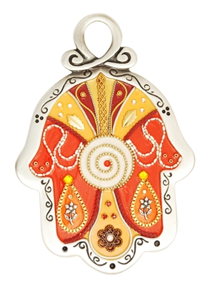 Orange Hamsa Hand by Ester Shahaf