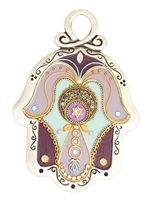 Purple Hamsa Hand with a Star of David by Ester Shahaf
