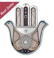Doves and Flowers Hamsa Hand by Ester Shahaf