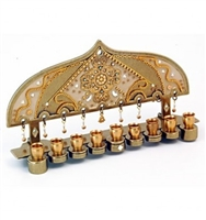 Golden Hanukkah Menorah by Ester Shahaf