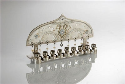 White Hanukkah Menorah by Ester Shahaf