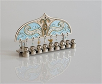 Light blue Hanukkah Menorah by Ester Shahaf