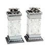 Pewter Shabbat Candlesticks - White by Ester Shahaf