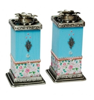 Hamsa Shabbat Candlesticks - Light Blue by Ester Shahaf