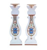 Large White Crystal Shabbat Candlesticks by Ester Shahaf