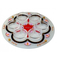 Hand Painted Passover Seder Plate - Red by Ester Shahaf