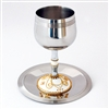 Gold & White Stainless Steel Kiddush Cup by Ester Shahaf