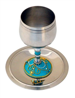 Turquoise Stainless Steel Kiddush Cup by Ester Shahaf