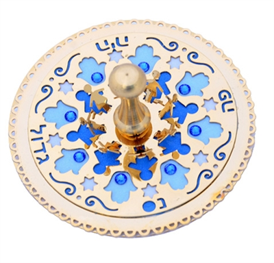 Blue Hamsa Golden Dreidel by Ester Shahaf