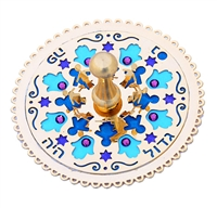 Blue Hamsa & Star of David Dreidel by Ester Shahaf