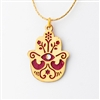Gold & Red Hamsa Necklace by Ester Shahaf