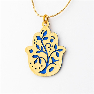 Blue Tree Hamsa Necklace by Ester Shahaf