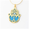 "Blue ""Love"" Hamsa Necklace by Ester Shahaf"