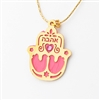 "Pink ""Love"" Hamsa Necklace by Ester Shahaf"