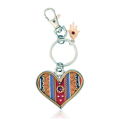 Heart Keyring by Ester Shahaf - Orange, Red and Blue