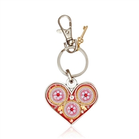 Heart Keyring by Ester Shahaf - Flowers and Beads in Gold, Purple and Pink