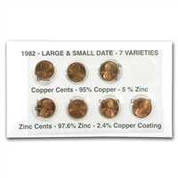 1982 Lincoln Cents All 7 Varieties in Holder
