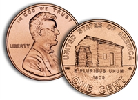 "2009 VDB Lincoln Cent P&D 2 Roll Set - ""Log Cabin"""