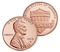 2019 W Uncirculated Lincoln Shield Cent in OGP - West Point Mint