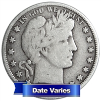 Average Circulated Barber Half Dollar - Date Varies