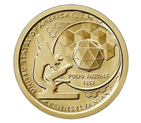 2019 American Innovation Pennsylvania - Polio Vaccine $1 Coin - P and D 2 Coin Set