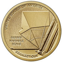 2020 D American Innovation Connecticut - Gerber Variable Scale $1 Coin - Roll of 25 Dollar Coins