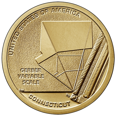 2020 P American Innovation Connecticut - Gerber Variable Scale $1 Coin - Roll of 25 Dollar Coins