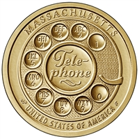 2020 P American Innovation Massachusetts - Invention of the Telephone $1 Coin - Roll of 25 Dollar Coins