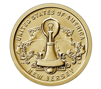 2019 P American Innovation New Jersey - Edison Bulb $1 Coin - Roll of 25 Dollar Coins