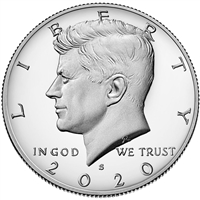 2020 S 99.9% Silver Proof Kennedy Half Dollar Single Coin
