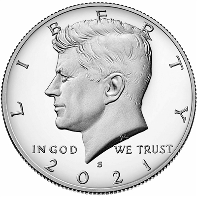 2021 S 99.9% Silver Proof Kennedy Half Dollar Single Coin