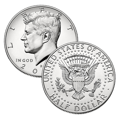 2019 - D Kennedy Half Dollars - Roll of 20