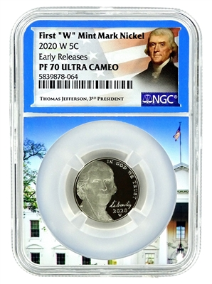 NGC PF70 2020 W Proof Jefferson Nickel - West Point Mint with White House Core
