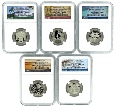 NGC PF69 2020 Early Release National Park Clad Proof Quarter 5 Coin Set