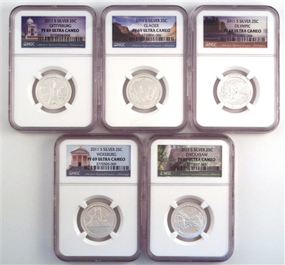 NGC PF69 2011 National Park Silver Proof Quarter 5 Coin Set