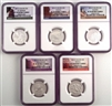 NGC PF70 2012 National Park Silver Proof Quarter 5 Coin Set