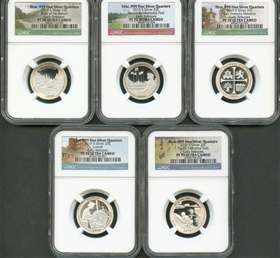 NGC PF70 Early Release 2019 National Park Silver Proof Quarter 5 Coin Set
