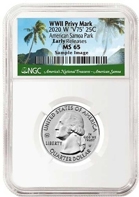 2020 NGC MS 65 W American Samoa National Park Early Releases ER V75 WWII Privy Mark