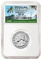 2020 NGC MS 66 W American Samoa National Park Early Releases ER V75 WWII Privy Mark