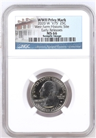 2020 NGC MS 66 W Weir Farm Historic Park Early Releases ER V75 WWII Privy Mark