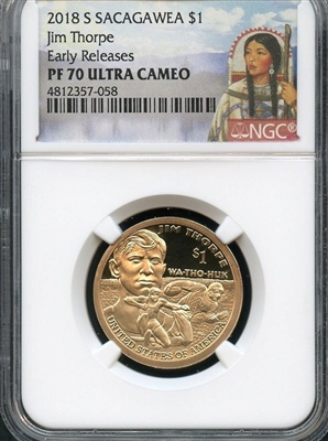 NGC PF70 2018 Sacagawea Dollar Portrait Label