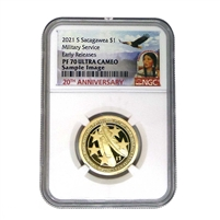"2021 S NGC PF70 Sacagawea/Native American Dollar ""Distinguished Military Service Since 1775"""