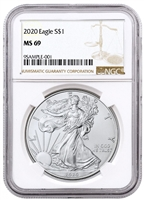 2020 NGC MS 69 Silver Eagle Brown Label