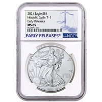 2021 NGC MS 69 Silver Eagle Early Release Blue Label