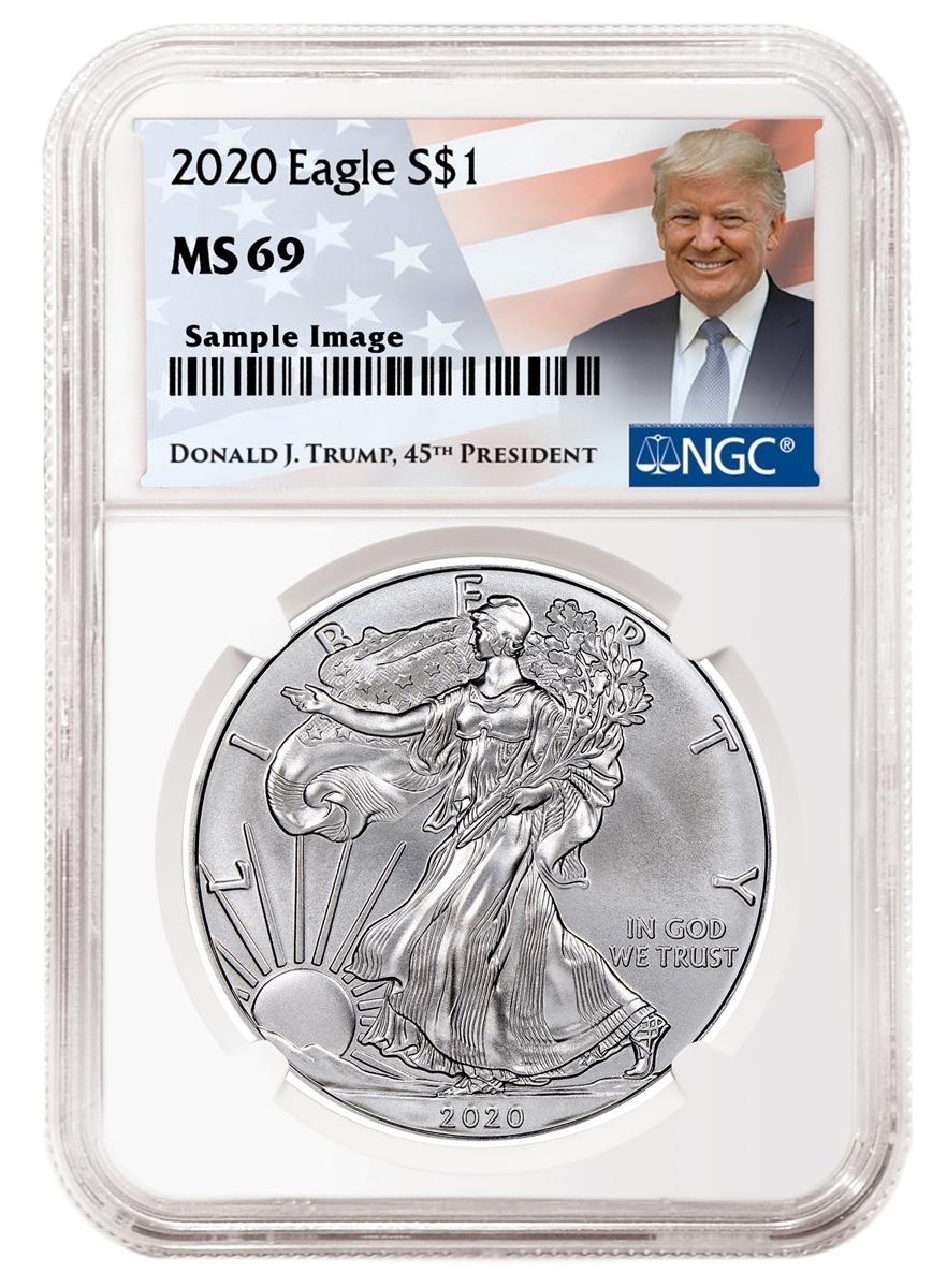 Donald Trump Label 2020 1oz Silver Eagle NGC MS69