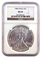1986 - 2020 NGC MS 69 Silver Eagles 35 Coin Complete Set