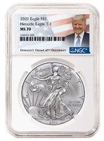 2021 NGC Donald Trump Label MS 70 Silver Eagle T-1 Heraldic Eagle Reverse