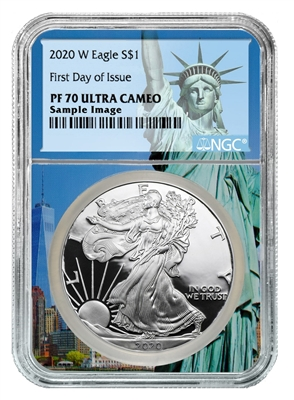 2020 W NGC PF 70 Silver Eagle Statue of Liberty Label 1oz Silver Coin