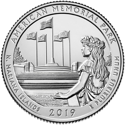 2019 - D American Memorial Park, NMI National Park Quarter Quarter Single Coin